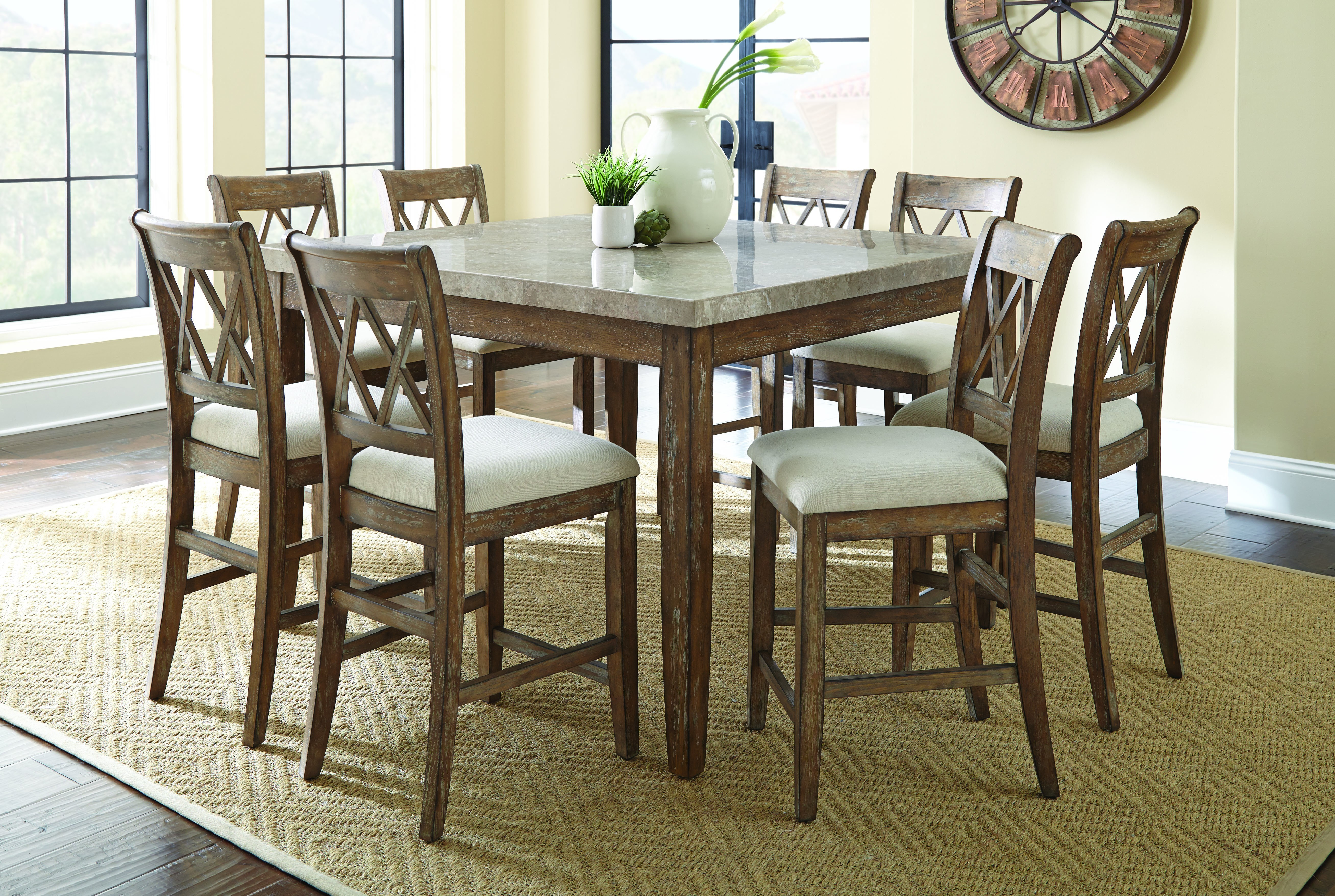 Franco Marble Top Counter Height Table w/6 Stools