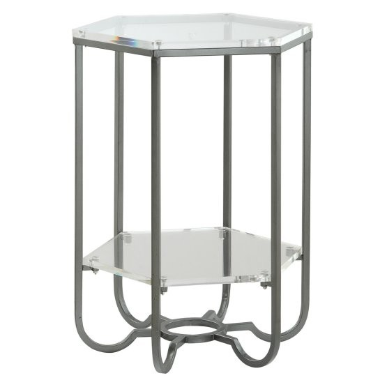 Coast To Coast Lucite Hexagonal End Table With Shelf