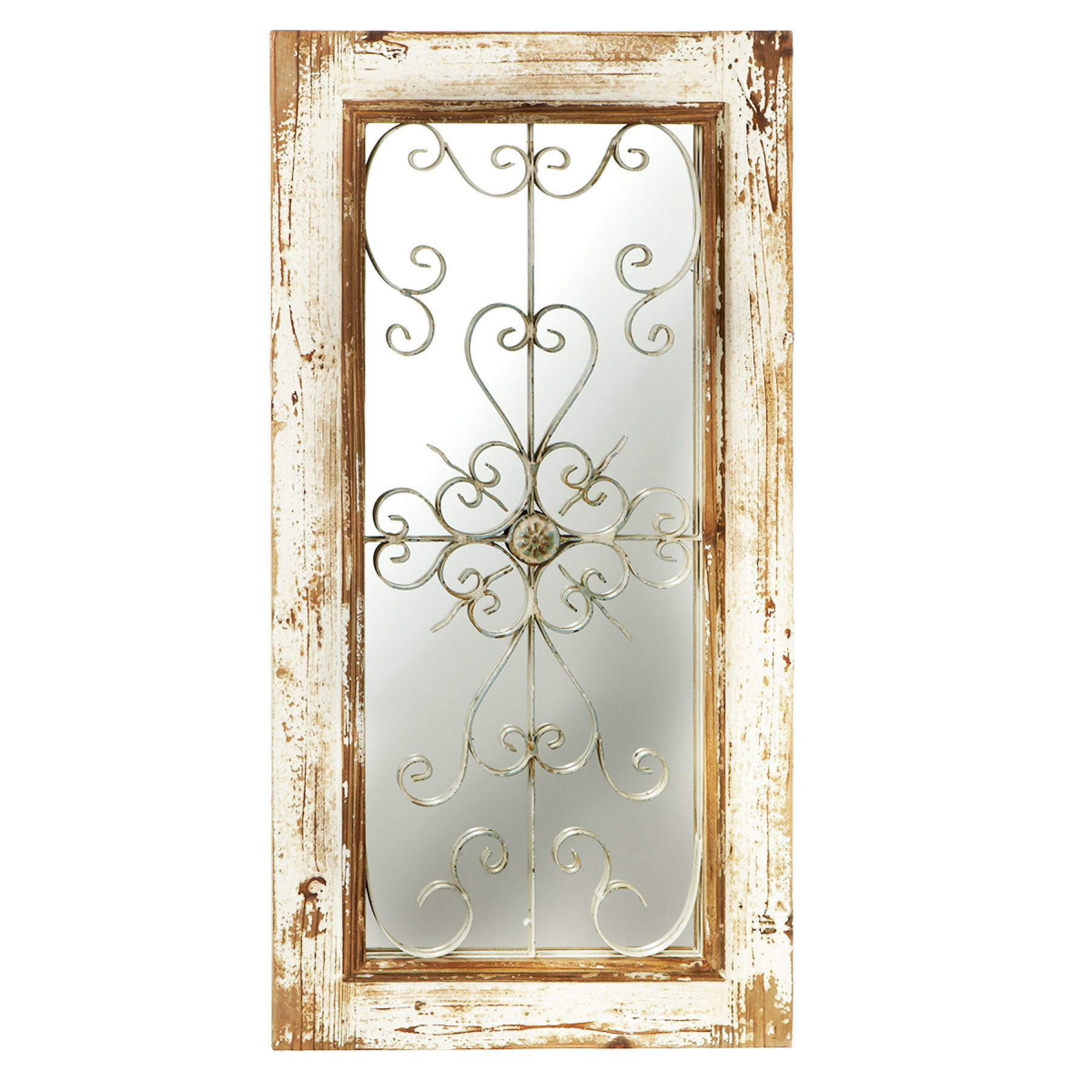 Distressed White Wall Mirror with Rusted Scroll
