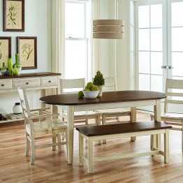 "Simply Dining 72"" Oval Table, 44"" Bench, Side Chair and Arm Chair"