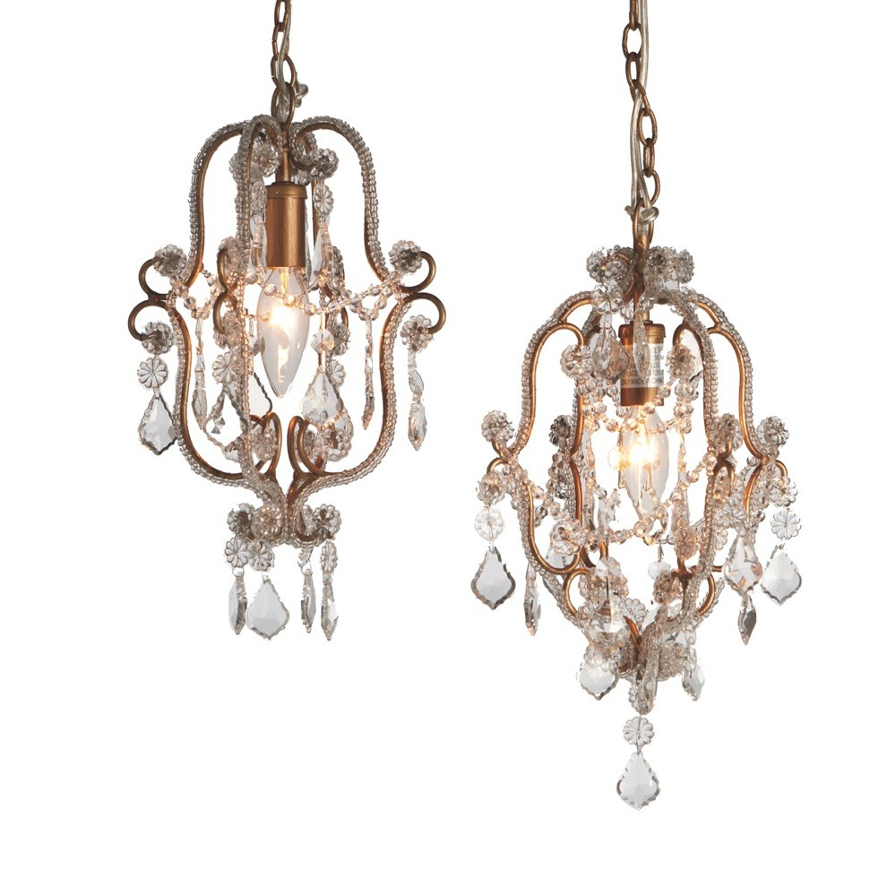 Antique Gold Beaded Chandelier