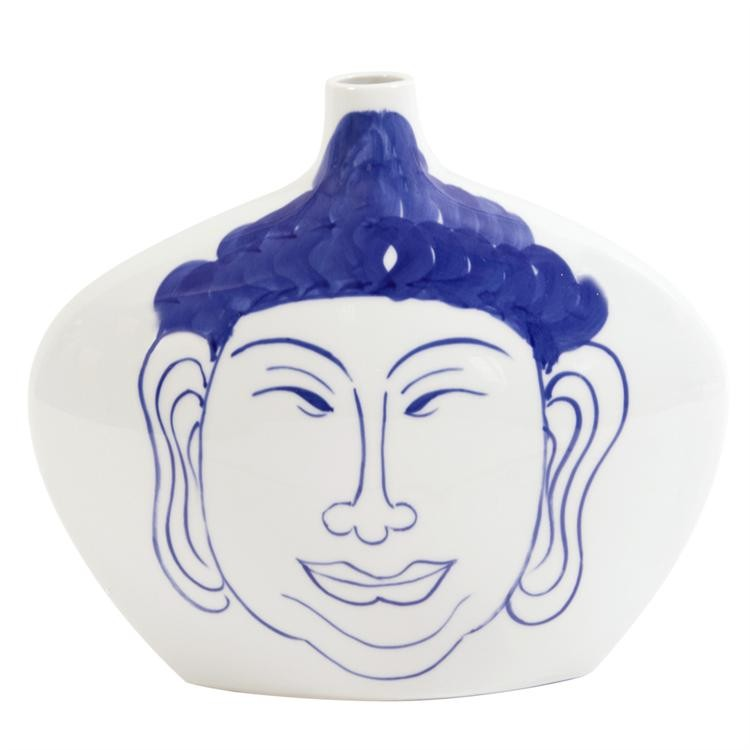 Blue and White Ceramic Buddha Vase, Small