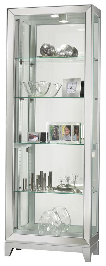 Shayne Four Glass Shelf Silver Contemporary Curio Cabinet