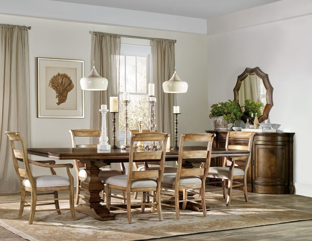 """Archivist Trestle Dining Table With Two 18"""" Leaves"""