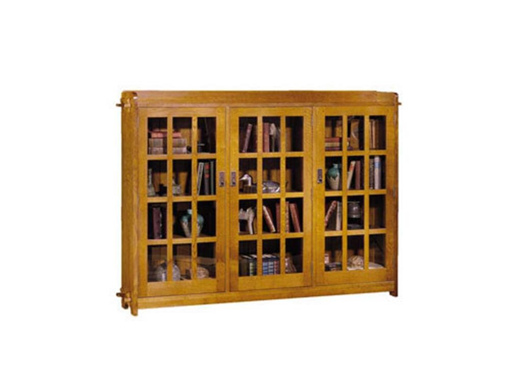 Stickley Furniture Home Office Triple Bookcase With Glass Doors