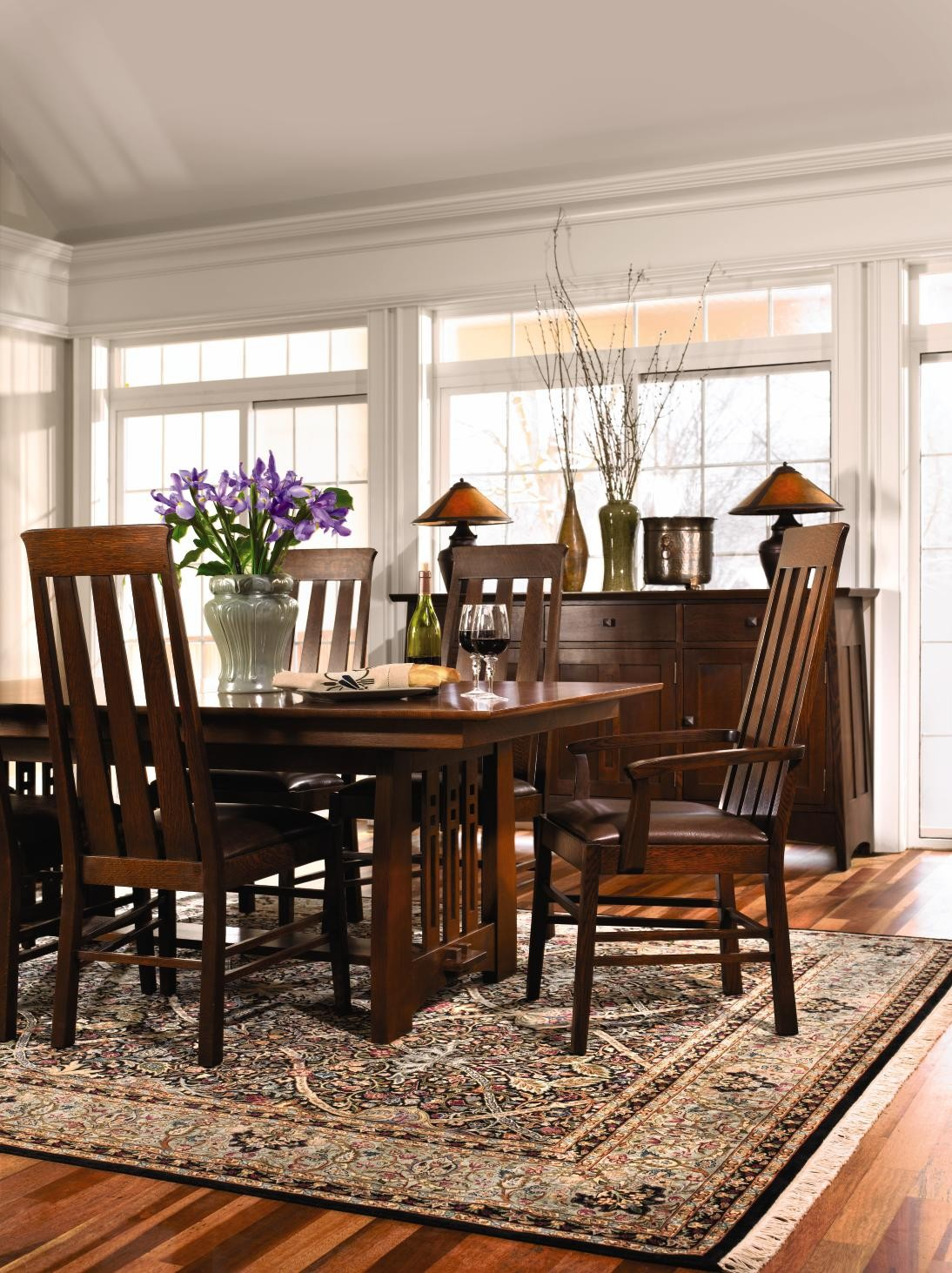 Highlands Trestle Table w/2 Arm Chairs & 4 Side Chairs
