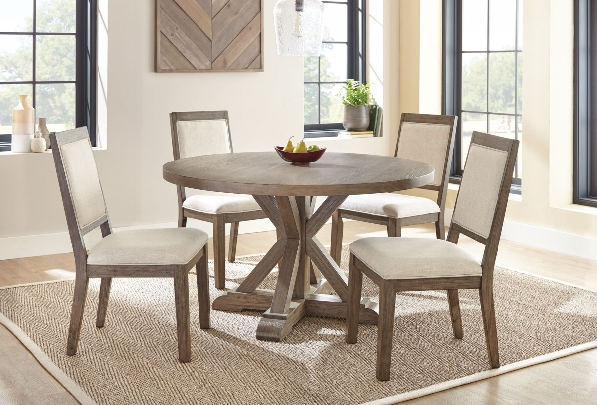 """Molly 54"""" Round Table w/4-Upholstered Side Chairs"""
