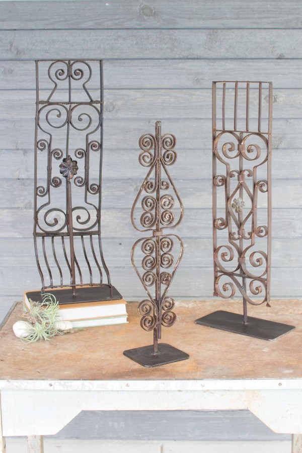 SET OF 3 REPURPOSED IRON GRILLES WITH STAND - ASSORTED