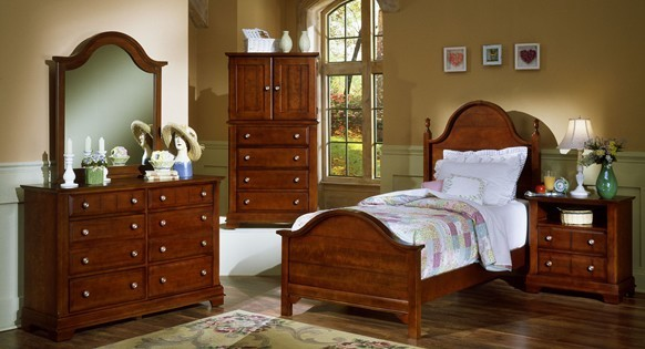Vaughan-Bassett BB19-338 Cottage Collection Twin Panel Headboard in Cherry Finish