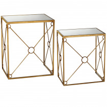 Circle Design Mirror Top Side Table set/2.