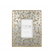Silver Floral Inlay 4x6 Frame.