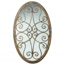 Framed Oval Scroll Wall Decor with Mirror*