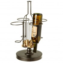 Four Bottle Wine Stand with Cork Holder