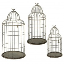 Antiqued Grey Bird Cage set/3.