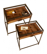 2 pc. set.Table with Curio Pull Out Drawer and Tempered Glass Top