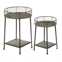 2 pc. set. Galvanized Table with Round Linear Tray Top.