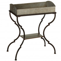 Galvanized Table with Shelf & Removable Tray.