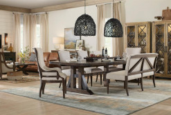 Trestle Dining Table, 2 Upholstered Arm Chairs, 2 Side Chairs & Upholstered Dining Bench