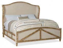 King Deconstructed Upholstered Panel Bed