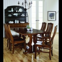 "Simply Dining Trestle Table w/Self Storing 16"" Leaf, 4 Side Chairs and 2 Arm Chairs"