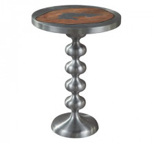 Cast Metal and Wood Side Table