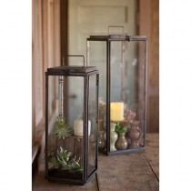 Kalalou Dark Tall Rectangle Lantern, Set of 2