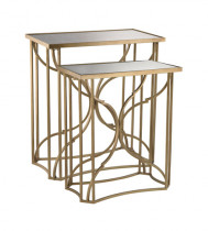 Gold and Antique Mirror Side Table S/2