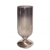 Blue-Gray Antiqued Hurricane Glass Holder - Small