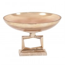 Antiqued Apricot Glass Footed Round Bowl on Champagne Gold Metal Base