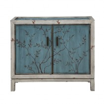 Coast to Coast Imports Two Door Cabinet, Spring Garden Blue and White Textured