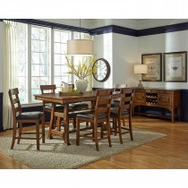 Ozark Gathering Height Dining Table w/6 Gathering Height Plank Stools