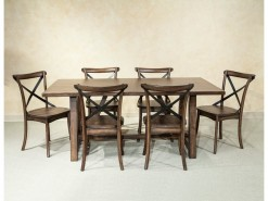 Lindsay Trestle Dining Table w/6 X-Back Side Chairs