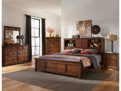 Wolf Creek Queen Bookcase Highback Headboard w/Panel Footboard