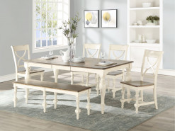 "Torrence 78"" Table with 18"" Leaf & 6 X-Back Side Chairs"