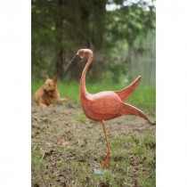 Kalalou Hand Forged And Painted Iron Pink Bird With Metal Base