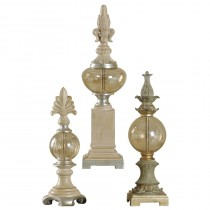 Set of 3 decorative finials in plated glass and canton finish