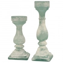 Flosted Recycled Glass Set of 2 Candle Holders
