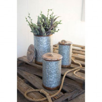 SET OF THREE GALVANIZED METAL CANISTERS