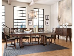 Hayden Trestle Dining Table with Storing Leaf & 6 Chairs