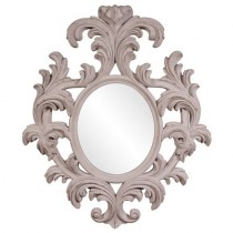 Alexi Distressed Rustic Taupe Oval Mirror