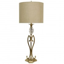 Champagne Silver Metal Base Table Lamp with Crystal Glass Accent