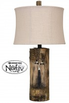 Hand Carved Tree Trunk Table Lamp