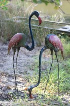 Set of 2 Recycled Metal Flamingos