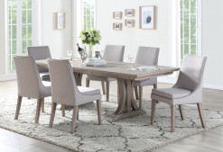 Xena 96 In Trestle Table w/ 20 in Leaf & 6 Scultped Parson Side Chair