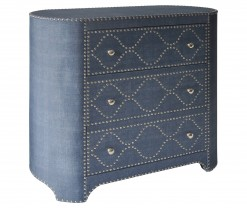 3 Drawer Oval - Shaped Cabinet with Chrome Nailhead Trim - Blue