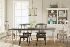 Juniper Leg Dining Table With 4 Windsor Side Chairs and 2 Windsor Upholstered Host Chairs