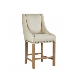 Low Arm Curve Linen Counter Stool