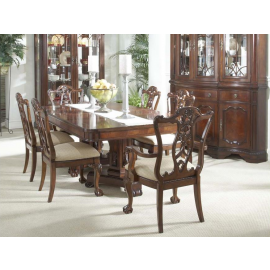 Antebellum Double Pedestal Table with 4 Ball & Claw Side Chairs and 2 Ball & Claw Arm Chairs