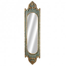 Distressed Blue Scroll Wall Mirror