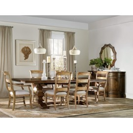 "Archivist Trestle Dining Table With Two 18"" Leaves"